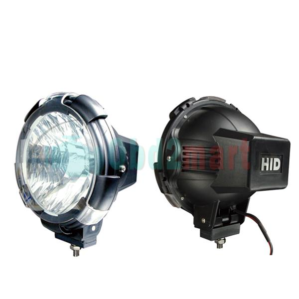 2pcs HID Xenon 7 inch 12v 24v 75w 6000K Driving Flood Spot lights Off Road Lights
