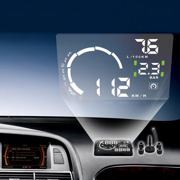 "New 5.5"" LED OBD-II HUD Head Up Display Over Speeding warning/speed/Km rpm/shift light/temperature +Tire indicator"